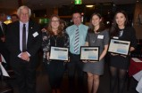 Herb Thomas Memorial Trust chairman Roger Hall (left) and Star news Group editor Garry Howe with 2015 award recipients (from left) Dani Rothwell, Sian Johnson and Lauren McKinnon. 138665_01
