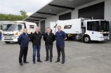 FAUN's Mario Ringl, Neil Bone and Brett Jones from Wastech and Thomas Hoffmann from FAUN with the new trucks. 145218 Picture: STEWART CHAMBERS