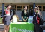 Students Tigyan and Marcy chatting to a Narre Warren Headspace representative about the range of services they provide. Picture: CONTRIBUTED